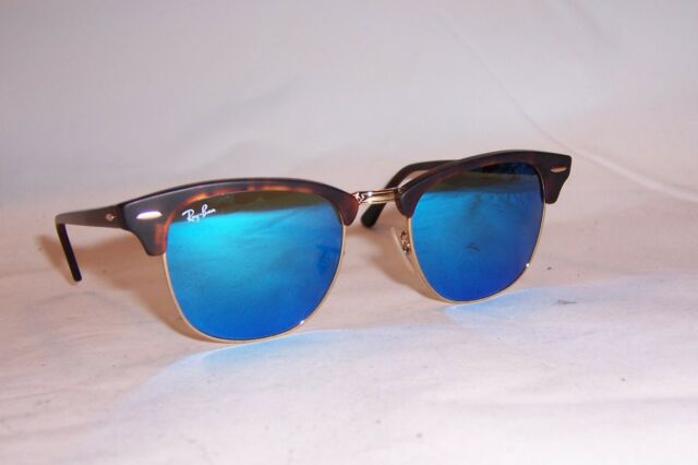 ray ban clubmaster blue lenses  Ray-Ban Rb3016 114517 Clubmaster Tortoise Frame Blue Flash 51mm ...