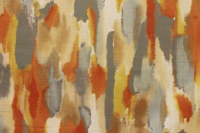 3 YDS MILL CREEK DEARING SUNSET WARM WATERCOLOR COTTON UPHOLSTERY FABRIC