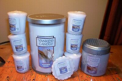 yankee candle 22oz TUMBLER AUTUMN PEARL +6 VOTIVES+1 TART+ 6oz FRAGRANCE SPHERES