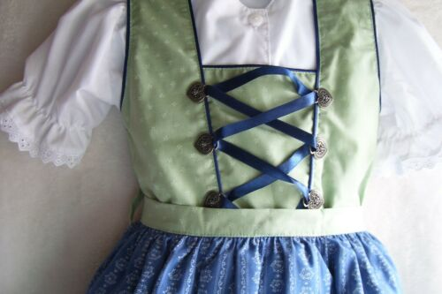 NEW!US Sz-6,Girls,Kids Germany,Trachten,Oktoberfest,Dirndl Dress,3-pc.Blue,Green