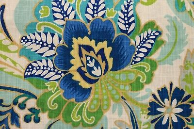 3YD RICHLOOM AYER LAGOON BLUE GREEN FLORAL LEAF COTTON UPHOLSTERY DRAPERY FABRIC