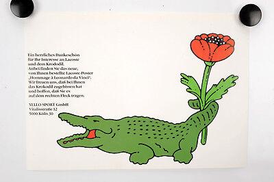 """Original Werbe-Plakat """"LACOSTE Dankschreiben Vintage Poster, Affiche Ancies"""