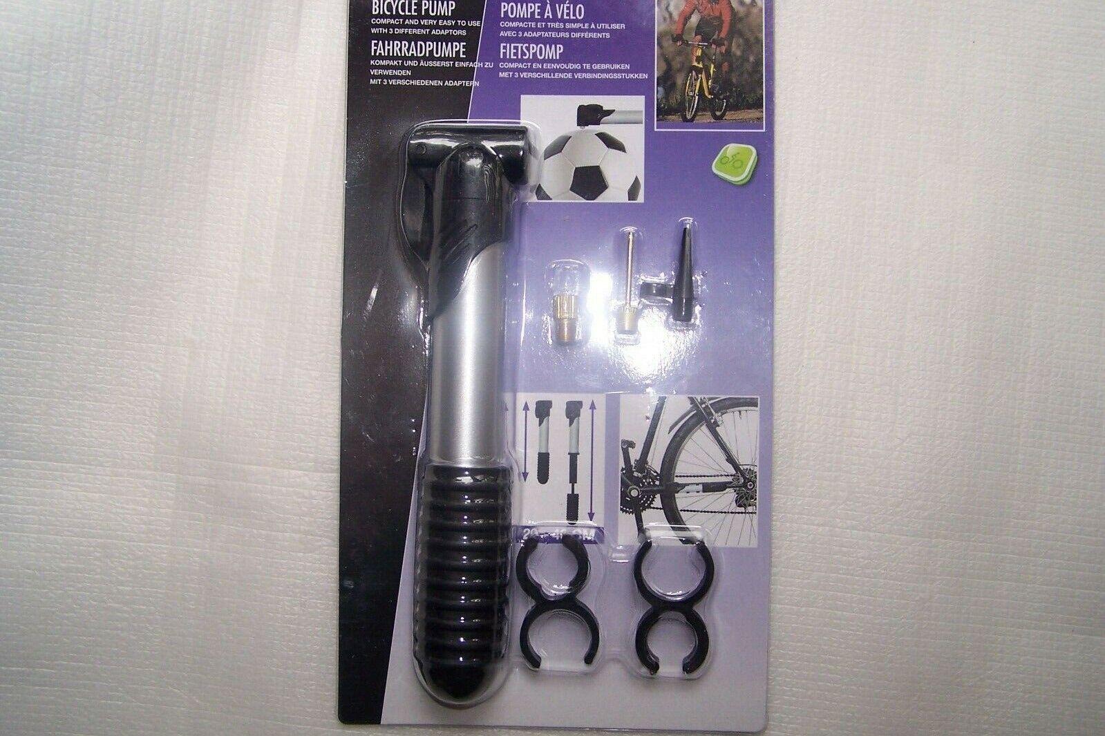 Fahrrad - Luftpumpe, mini, + 3 Adapter, Auto - Blitzventil, Ball - Nadel,Spitze