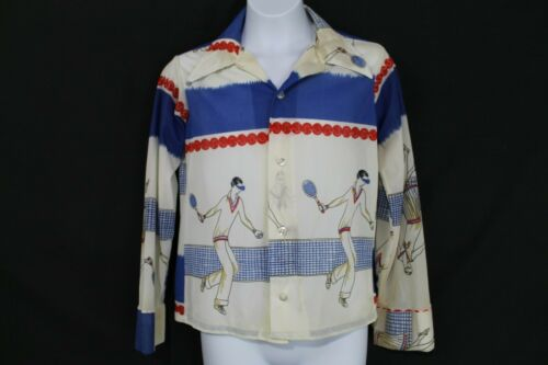 VTG 1970s Child Siz Boys Acetate Knit Tennis Print Shirt Retro Disco Era