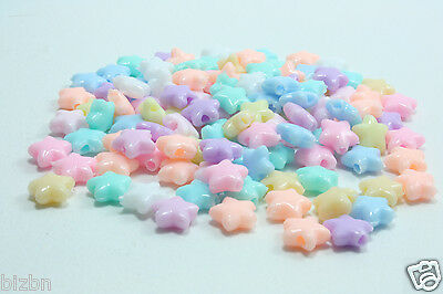 8mm Star bead pastel plastic mix multi-color 200 400 600 pcs lots DIY Crafts](Plastic Star Beads)