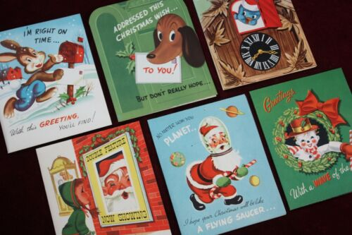 ** VINTAGE ANTIQUE CHRISTMAS POP UP CARDS 6 PCS. NEW OLD STOCK 1940 1950 SPACE *