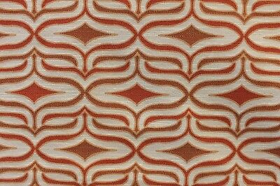 5YD BARROW DEERING SUNSET ORANGE IVORY MODERN DIAMOND JACQUARD UPHOLSTERY FABRIC