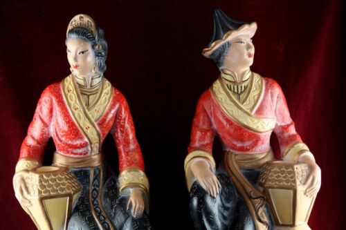 * VINTAGE ANTIQUE 1949 AMERICAN ART INDUSTRIES NY GEISHA CANDLE STICK HOLDERS *