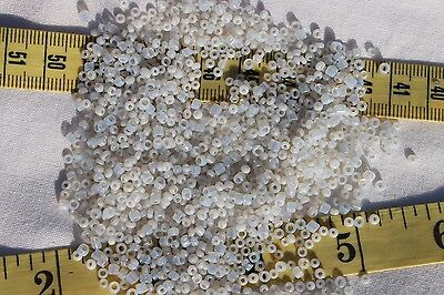 9/0 Antique French Glass Opal Off White Seed Beads & Tubes Crafts Jewelry /1oz Opal Glass Tube
