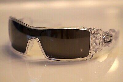 Oakley Oil Rig Sunglasses Polished Clear Frame W/ Black Iridium Lens RARE NEW Oakley Black Lens