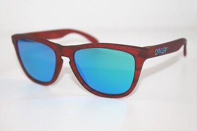 Oakley Frogskins Sunglasses OO9013-B7 Red Woodgrain W/ Sapphire Iridium Lens