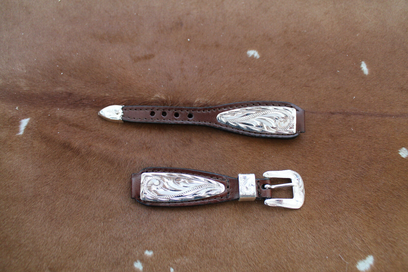 Western Cowboy Womens Leather Watch Band Silver Belted Rodeo