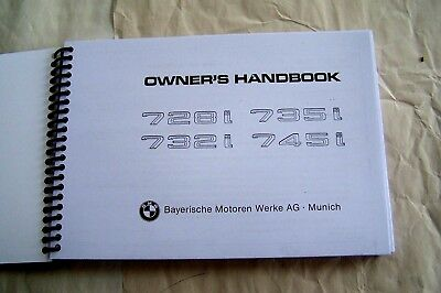 BMW 7 series euro Owners Manual Service 745i 735i 732 728 new factory reprint Bmw 7 Series Owners Manual