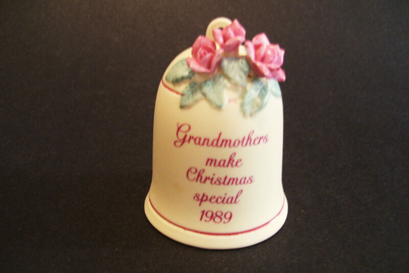 1989 Grandma Bell Christmas Ornament Porcelain Pink Roses Vintage