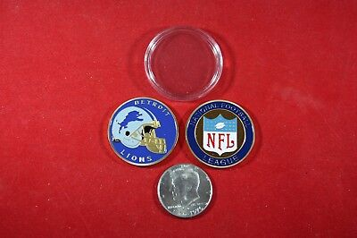 Detroit Lions Coin Card - Football Coin: Detroit LIONS w/ Hard Case Poker Card Protector