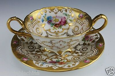 Cauldon for Gilman & Collamore PRISTINE Hand Painted Cream Soup & Under Plate -C