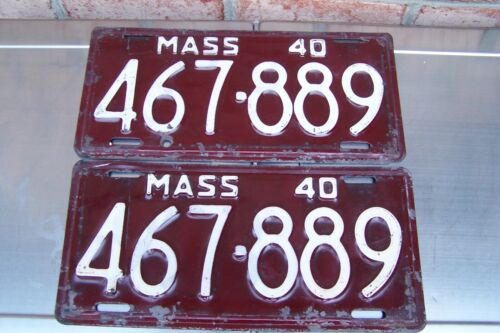 Pair of 1940 Massachusetts  License Plate Tag # 467 - 889