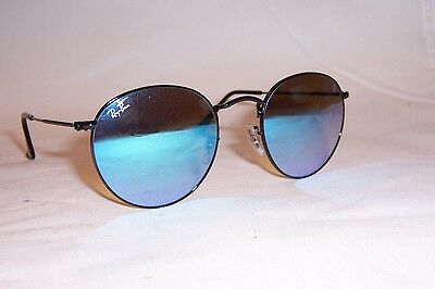 New RAY BAN ROUND METAL Sunglasses 3447 002/4O BLACK/BLUE MIRROR 50mm (Ray Ban Round Black Glasses)