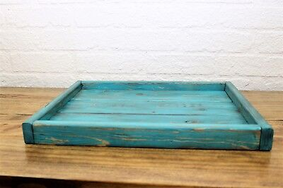 Small Low Profile Turquoise Serving Coffee Table Tray Rustic Decor (Small Serving Tray)