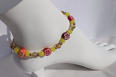 """9.5"""" Handmade Anklet Jewelry Spring Flower Fimo & Yellow,Golden Glass Beads"""