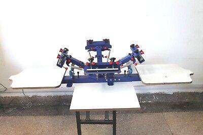 Screen Printing 4 Color Press Machine Micro-adjut Equipment 2 Station Pallet