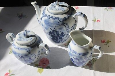 Delf Blue Hand Painted Tea Set w/ Windmill Canal Sailboat AW