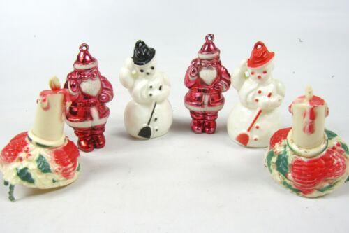 Lot Vintage Hard Plastic Bradford SANTA SNOWMAN CANDLE Christmas Ornaments