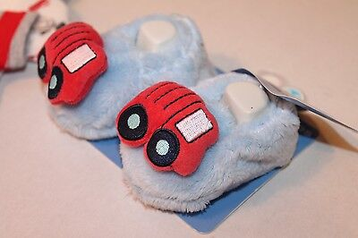 Gerber Firetruck Booties Blue & Red Plush Shoes Infant Baby
