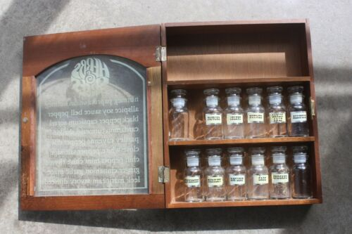 Vintage Herbs and Spices Wood Cabinet Rack with Glass Door Gailstyn Sutton