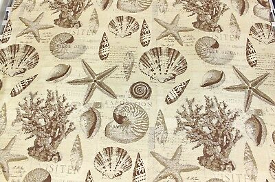 6 YD INDOOR/OUTDOOR NANTUCKET CHESTNUT NEUTRAL NAUTICAL DESIGN UPHOLSTERY FABRIC