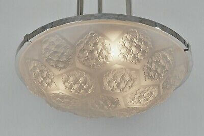 ETLING : FRENCH 1930 ART DECO CHANDELIER ..........  pendant modernist lamp 1935