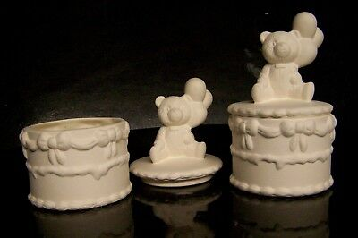Ceramic Bisque Birthday Fairy Bear - Trinket Box Ready to Paint