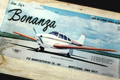 "** VINTAGE GLEN SIG RC BONANZA AIRPLANE MODEL KIT HUGE 68"" WINGSPAN 1979 NOS *"