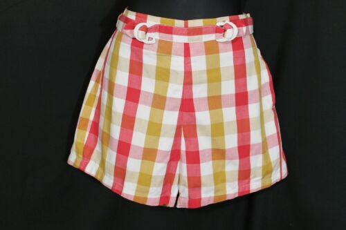 VTG 1950s McKeevers Plaid Shorts Side Zip High Waist California RockABilly W26""