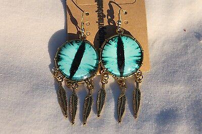 Dragon Eye's Dangle Feather Drop Halloween Jewelry Earrings # 8 Ant. Golden 1pr