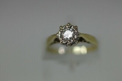 Vintage Hallmarked 18 ct Gold & 0.20 ct Single Diamond Ring Size I.