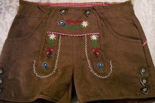 NEW US 7 Girls,Germany,Oktoberfest,Lederhosen-Style,Shorts.Brown,Edelweiss