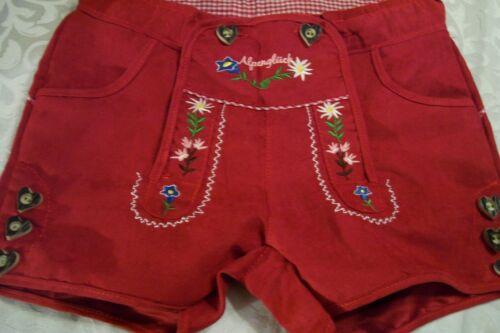 NEW! US 8 Girls,Germany,Trachten,Lederhosen-Style Shorts.RED,Embroid.,Edelweiss