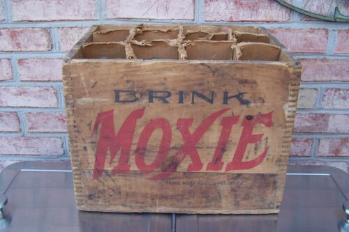 Antique Moxie Cola Wooden Crate with 12 Original Pint Bottles, Great Condition..