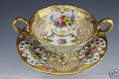 Cauldon for Gilman & Collamore PRISTINE Hand Painted Cream Soup & Under Plate -B