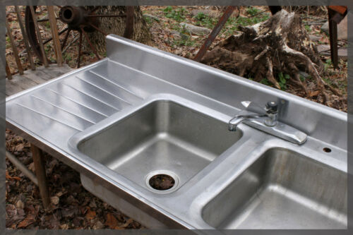 We Ship! Big Vintage Stainless Steel Industrial Tracy Style Farmhouse Farm Sink
