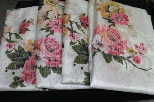 VTG Set of 4 MCM Curtains Drapes Panels Floral Shiny Textured