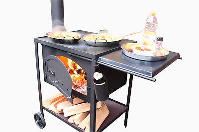 Mobile Außenküche 60x50, Grill, Plancha, Holzbackofen, Ofenschmiede, Kochstation