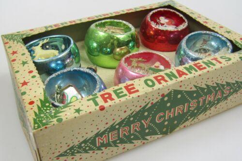 Lot VTG Mercury Glass Diorama Scene SANTA REIDEER Ball Christmas Ornaments Japan