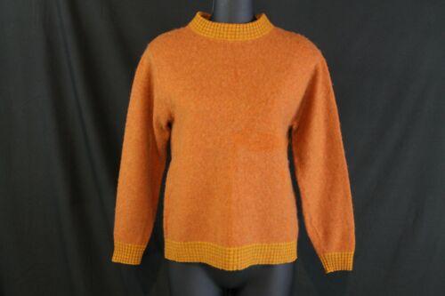 VTG 1950s Womens Pullover Sweater Wool Blend Burnt Orange Striped Neck Cuffs S