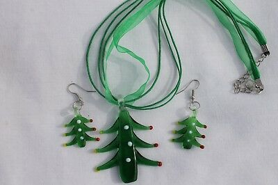 Christmas Tree w/Green Ribbon Lampwork  Earring & Necklace Costume Jewelry Set - Christmas Tree Costumes