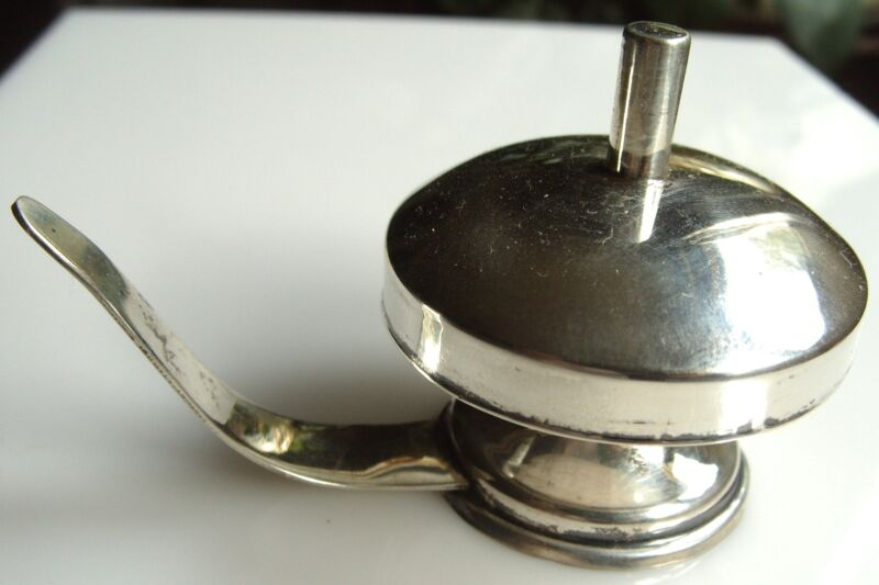 Mexico Sterling Trinket Box w Handle and Lid w Finial Taller #20
