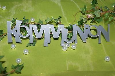 Tischdekoration Dekoration Kommunion Schriftzug silber