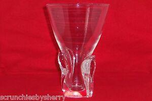 Steuben-Crystal-Vase-Designed-Lloyd-Atkins-Signed-Clear-Art-Glass-Vintage