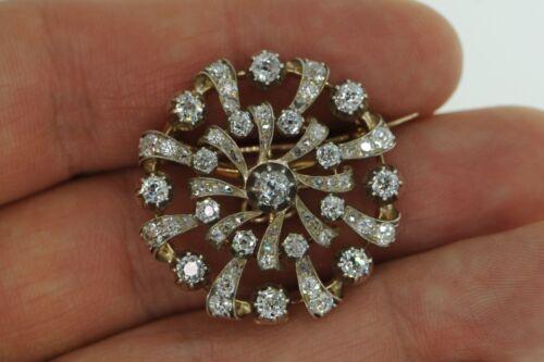"Art Deco (ca. 1910) White Gold 2.6ct+ tcw Diamond Broach Pin (Pendant; 1 1/8"")"